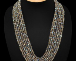 472 CTS NATURAL BLUE FLASH LABRADORITE 7 STRAND BEADS NECKLACE