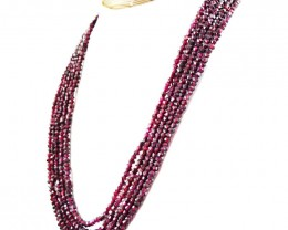 NATURAL 5 STRAND RED GARNET  BEADS NECKLACE