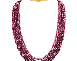 450.00 CTS NATURAL 5 STRAND RED GARNET  BEADS NECKLACE
