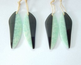 Free Shipping !!!! Sell 2 pairs Intarsia Leaf Earrings,Natural Pure Amazoni