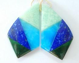 4 Kinds of Gemstone Intarsia Earrings,Natural Pure Amazonite,Blue Jasper,Da