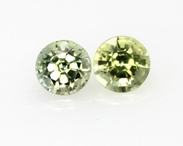 0.83cts  Matching Pair Natural Round Yellow Parti Sapphires 2pcs