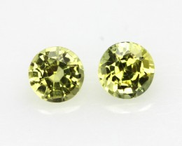 0.76cts  Matching Pair Natural Yellow Sapphires 2pcs