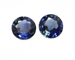 0.58cts  Matching Pair Natural Round Blue Sapphires 2pcs