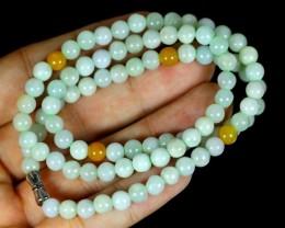 156.0Ct Genuine Burmese Type-A Jadeite Jade 92-Beads Necklace