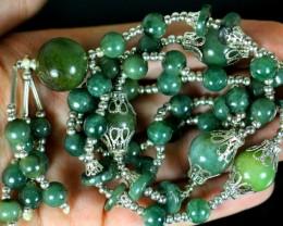 375.5Ct Genuine Burmese Type-A Jadeite Jade 57-Beads necklace