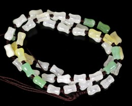 129.0Ct Genuine Burmese Type-A Mix-Color Jadeite Jade 50-Beads Necklace