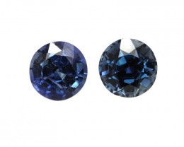 0.77cts  Matching Pair Natural Round Blue Sapphires 2pcs