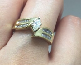 Magnificent $3600 Nat. 0.85ct Designer White Diamond Ring 14K Sol Ylw Gold
