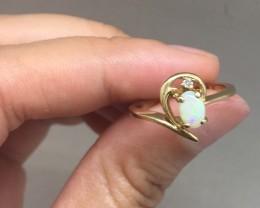 Wonderful $2300 Nat 0.60ct Antique Opal & Diamond Ring 10K Sol Gold