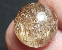 13mm Golden rutile deep Antique color quartz  round cabochon AAA Custom Cut