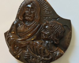 Carved Tigers Eye Jesus and Child Cameo (Large) Drilled Pendant Stone