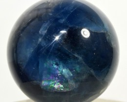 55mm Rainbow Blue Fluorite Crystal Mineral Sphere - China (STBFSCA225)