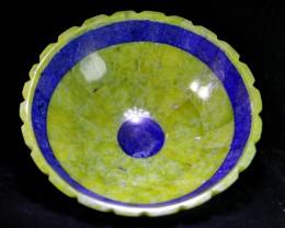 2420CT Natural lapis lazuli  &Serpentine Carvid Bowl Stone Special Shap