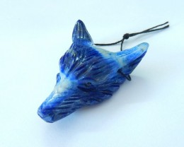 86.5ct Natural Lapis Lazuli Handcarved Wolf Head Necklace Pendant(17102406)