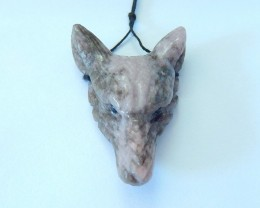 65.5ct Natural Purple Agate Handcarved Wolf Head Necklace Pendant(17102409)