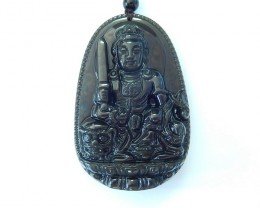 254ct High Quality Obsidian Buddha Carving Pendant Bead(17102013)