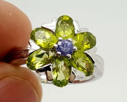 stamped 925 silver stylish GREEN PERIDOT &TANZANITE RING 8 SIZE   Jl400
