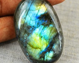 Genuine 86.50 Cts Oval Shape Blue & Golden Flash Labradorite Cab