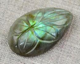 Genuine 25.00 Cts Pear Shape Carved Green Flash Labradorite Cab