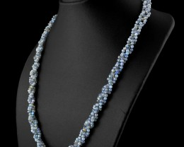 Genuine 140.00 Cts Blue Flash Labradorite Beads Necklace