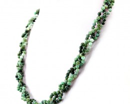 Genuine 329.50 Cts Untreated Green Emerald Beads Necklace - Wow
