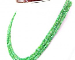 Genuine 154.00 Cts 3 Line Green Emerald Round Cut Beads Necklace