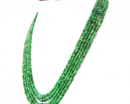 Genuine 309.50 Cts 5 Line Green Emerald Faceted Beads Necklace