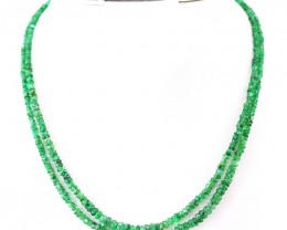 Genuine 97.50 Cts 2 Line Green Emerald Round Cut Beads Necklace - Wow