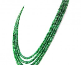Genuine 295.00 Cts 4 Line Emerald Faceted Beads Necklace - Wow