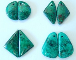 Big Promotion!!! Sell 4pairs Natural Beautiful Chrysocolla Geometric Earrin