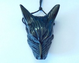 54ct Natural Black Obsidian Handcarved Wolf Head Necklace Pendant Bead(1710