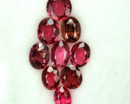 2.03 Cts Natural Pinkish Red Spinel Oval Cut 9 Pcs Parcel