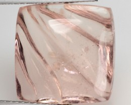 13.16 Cts Natural Morganite Carving Peach Pink Brazil