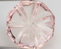 12.53 Cts Natural Morganite Carving Peach Pink Brazil