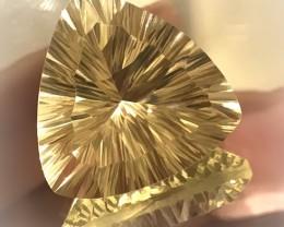 For Pauline 33.10ct Gorgeous Trilliant Concave cut Lemon Quartz VVS