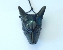 57ct Natural Obsidian Handcarved Wolf Head Necklace Pendant(17102803)