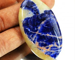 Genuine 54.00 Cts Untreated Blue Sodalite Cab