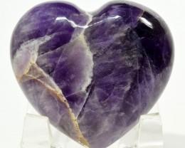47mm Chevron Amethyst Heart Purple Quartz Crystal India (STAMH-NA231)