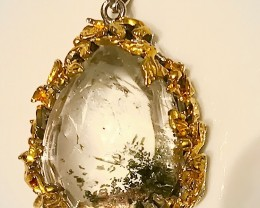Mesmerizing Dendrite Quartz Large Pendant Gold and Silver 128.00cts