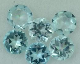 2.23 Cts 6 Pcs Pretty 5mm Round Light Blue Aquamarine Parcel