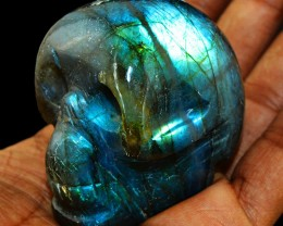 Genuine 779.50 Cts Hand Carved Blue Flash Labradorite Skull