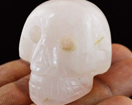 Genuine 214.00 Cts Pink Rose Quartz Hand Carved Skull - Wow