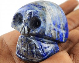 Genuine 340.50 Cts Hand Carved Blue Lapis Lazuli Skull - Wow
