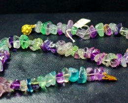 490 CT Natural - Unheated Multi Flourite Carved Necklaces Special Shape