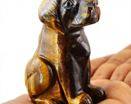Genuine 725.50 Cts Golden Tiger Eye Hand Carved Dog