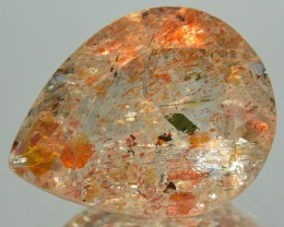 3.83 Cts Natural Brick Red Dot Sunstone Pear Faceted Congo Gem