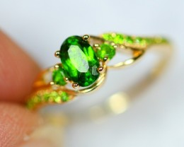 Lot 01 ~ 9.42Ct Natural Russian Chrome Green Diopside 18K Gold Ring Sz4.75