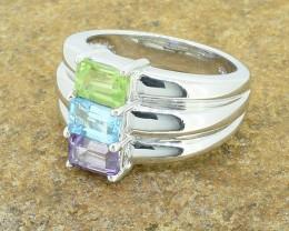 Amethyst / Swiss Topaz / Peridot 925 Sterling Silver Ring SIZE 7  (SSR0271)