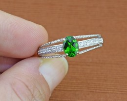 Chrome Diopside 925 Sterling Silver Ring Size 10 (SSR0270)